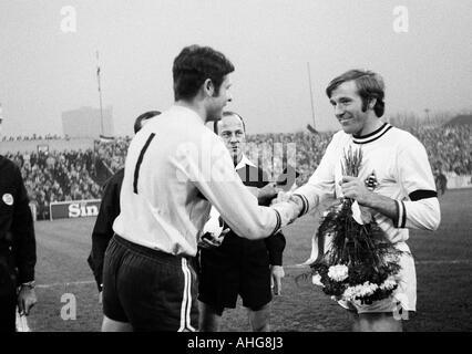 football, Bundesliga, 1969/1970, Rot-Weiss Oberhausen versus Borussia Moenchengladbach 3:4, Niederrhein Stadium - Stock Photo