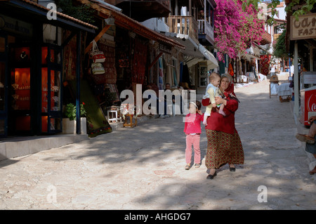 picturesque  a street in town of Kas on Southern coast of Turkey. - Stock Photo