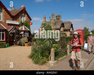 Country Village Walks and Walking Post Office Somerleyton Suffolk England GB - Stock Photo