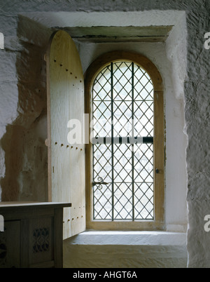 Mount Grace Priory, North Yorkshire, England. Leaded window in reconstructed Monk's cell. - Stock Photo