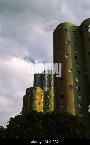 Camouflaged high rise flats at La Defense in Paris France - Stock Photo