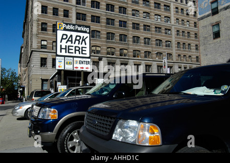 SUV cars parked in parking lot New York City, USA - Stock Photo