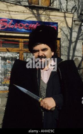 Ukrainian wearing Cossack costume in Odessa Ukraine - Stock Photo
