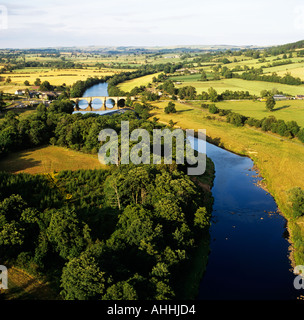 River Tyne in rural Northumberland UK aerial view - Stock Photo
