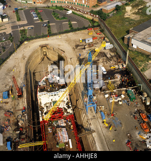 Ship building in dry dock River Tyne South Shields UK aerial view - Stock Photo