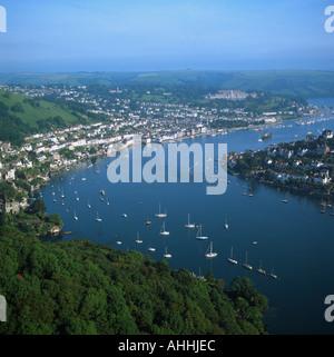 Town River Dart Estuary Dartmouth Devon UK aerial view - Stock Photo