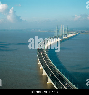M4 Motorway over Second Severn Crossing bridge between Wales and Gloucestershire UK aerial view - Stock Photo