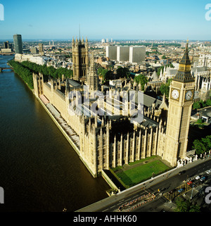 Houses of Parliament River Thames Westminster London UK aerial view - Stock Photo
