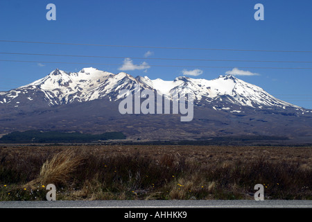 View of Mount Ruapehu from the great desert road, north Island New Zealand - Stock Photo