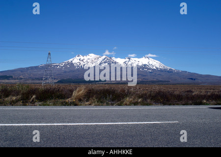 View of Mount Ruapehu from the great desert road, north Island New Zealand. - Stock Photo
