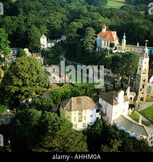Portmeirion Italianate village Gwynedd Wales built by William Clough Ellis famous for The Prisoner TV series aerial - Stock Photo