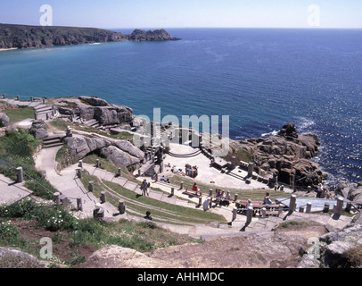 Porthcurno south west of Penzance The Minack outdoor theatre curved grass terracing with stage - Stock Photo