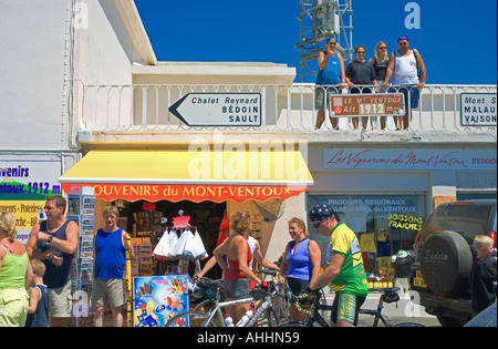 PEOPLE AND BIKERS AND SOUVENIR SHOP ON TOP OF  MONT VENTOUX  MOUNTAIN PROVENCE FRANCE - Stock Photo