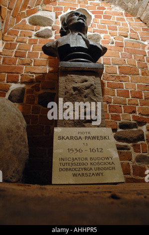 Undegrounds in Church of Our Lady of Grace, Old Town in Warsaw, Poland. Piotr Skarga-Poweski jesuit priest grave. - Stock Photo
