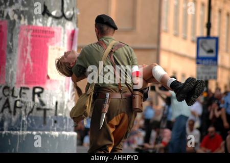 Historical reenactment of Warsaw Uprising in 1944 during II World War - Stock Photo
