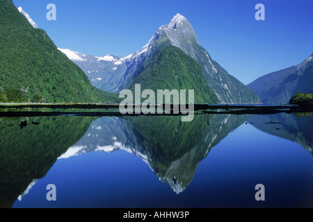 The Lion Peak reflecting off Milford Sound in Fiordland National Park on South Island - Stock Photo