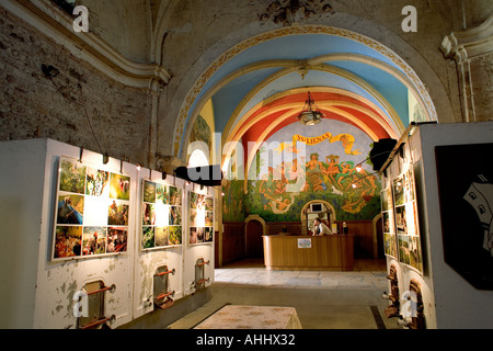EXHIBITION INSIDE  CELLIER DE LA VIEILLE EGLISE  OLD CHURCH WINE CELLAR  JULIENAS  BEAUJOLAIS WINE COUNTRY RHONE - Stock Photo