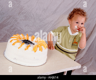 children birthday fruit cake cut out cropped white background outline cutout - Stock Photo