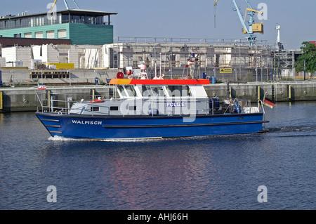 Wismar harbor Hafen police - Stock Photo