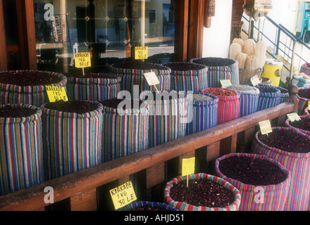 Sharm el Sheikh Egypt Colourful striped fabric bags of Karkade with price tickets in the tops of them outside a - Stock Photo