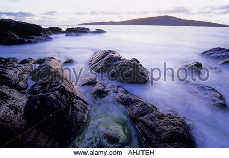 Luskentyre Beach on the Isle of Harris Scotland - Stock Photo
