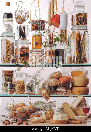 food on glass shelves - Stock Photo