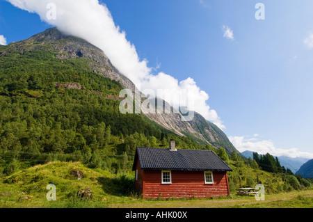 Mountain huts below Boya Glacier Sogndal Commune Norway - Stock Photo