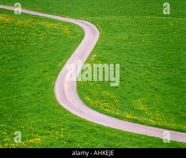 TRANSPORTATION CONCEPT:  Road winding through field - Stock Photo