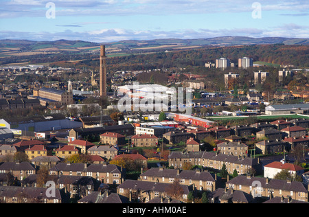Old jute mills and housing Dundee from Dundee Law Scotland - Stock Photo