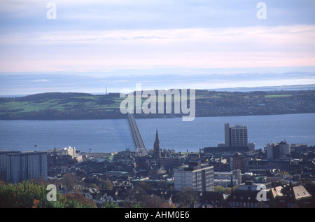 View over Dundee from Dundee Law Scotland - Stock Photo