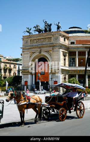 Horse drawn carriage in front of the Teatro Politeama Palermo Sicily Italy - Stock Photo