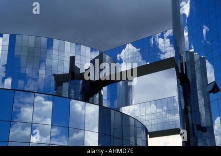 Headquarters of the Attorney General building by Oscar Niemeyer, Brasilia, Brazil - Stock Photo