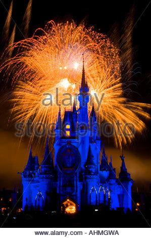 Night time Wishes fireworks display  Cinderella Castle Walt Disney World Orlando Florida - Stock Photo