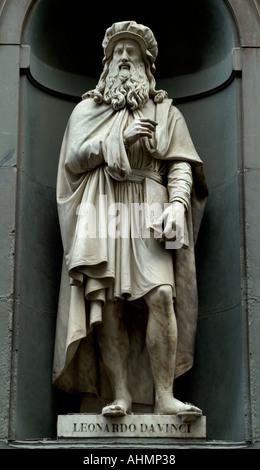 Florence Italy Leonardo di ser Piero da Vinci - Stock Photo