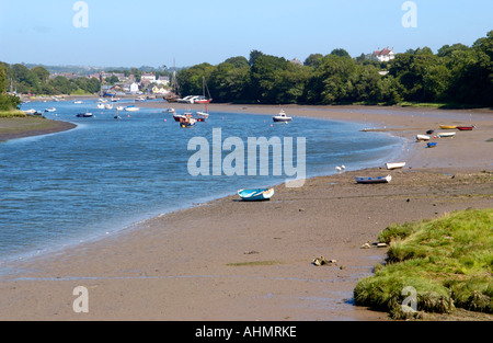 Boats moored in the River Teifi estuary looking upstream to Cardigan at St Dogmaels Pembrokeshire West Wales UK - Stock Photo