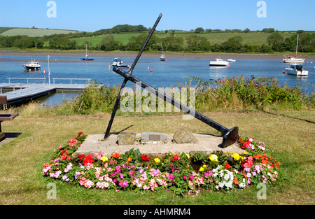 Memorial anchor on the River Teifi estuary at St Dogmaels Pembrokeshire West Wales UK - Stock Photo