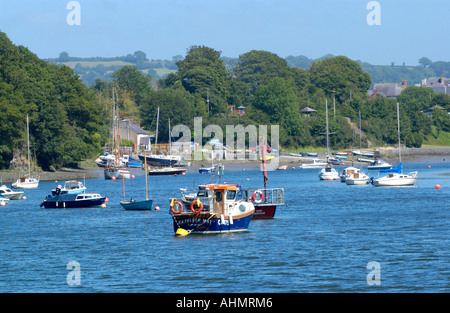 Boats moored in the River Teifi estuary at St Dogmaels Pembrokeshire West Wales UK looking upstream toward Cardigan - Stock Photo