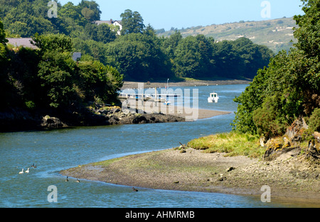 Boats moored in the River Teifi estuary at St Dogmaels Pembrokeshire West Wales UK - Stock Photo