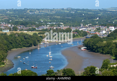 Boats moored in the River Teifi estuary at St Dogmaels Pembrokeshire West Wales UK looking upstream to Cardigan - Stock Photo