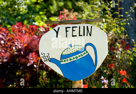 Sign for tea rooms at Y Felin 17th century flour mill at St Dogmaels Pembrokeshire West Wales UK - Stock Photo