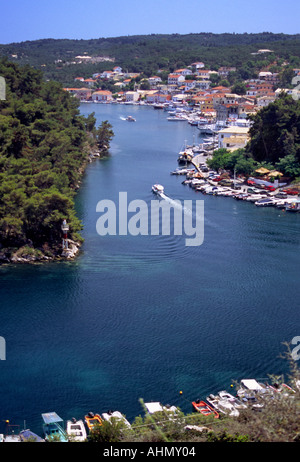 Gaios Town harbour area Paxos  Ionian Islands Greece - Stock Photo