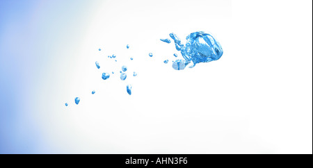 dropout of bubbles under water in the shape of a fish which formed accidentally - Stock Photo