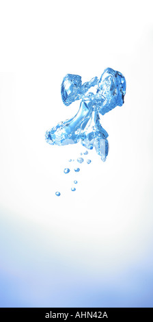 cutout dropout of bubbles under water in the shape of a flying creature angel - Stock Photo