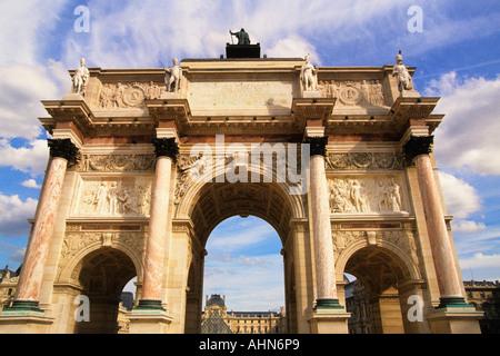 France Paris Arc de Triomphe du Carrousel and The Louvre - Stock Photo