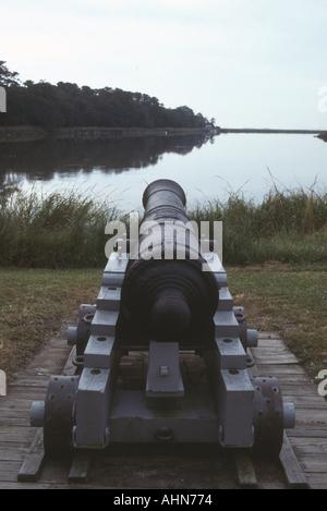Cannon at Fort Frederica St Simon's Island Georgia - Stock Photo