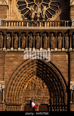Europe France Paris Notre Dame Cathedral West Front Detail - Stock Photo
