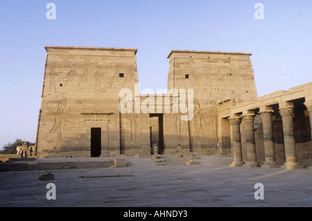Egypt, Philae, the Temple of Isis first pylon and  main entrance to temple - Stock Photo