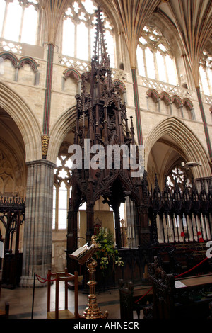 UK Devon Exeter Cathedral bishops throne - Stock Photo