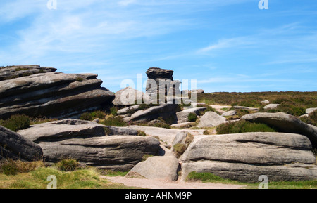 Mother cap, a Rock Formation above Millstone Edge near Hathersage, Peak District Derbyshire UK - Stock Photo
