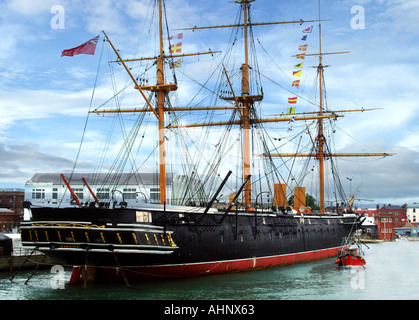 HMS Warrior. First Ironclad battleship - Stock Photo